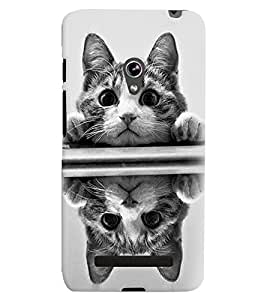 Printvisa Pussy Cat Reflected Image Back Case Cover for Asus Zenfone 5::Asus Zenfone 5 A500CG