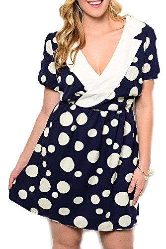 DHStyles Women's Plus Size Trendy Polka Dot Collared Plunging Neckline Dress