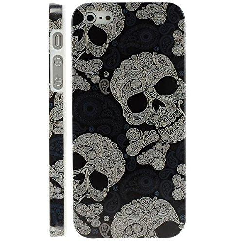 THE FLY SHOP - Cover per Iphone 5 e 5s/ Custodia stile metal in plastica rigida bianca e nera con teschi decorativi