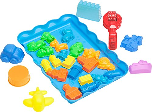 Sand Molds Kit w/ Mess Free Tray (28 pcs) - City Theme Set - Compatible with Kinetic Sand, Sands Alive, Brookstone Sand, Waba Sand, Moon Sand and Other Molding Play Sand Brands - (Sand NOT included) (Squishy Sand Play Tray compare prices)