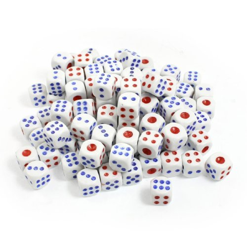 100 Pcs 13Mm White Blue Red Plastic Shaking Dices Lucky Game Props New front-482643