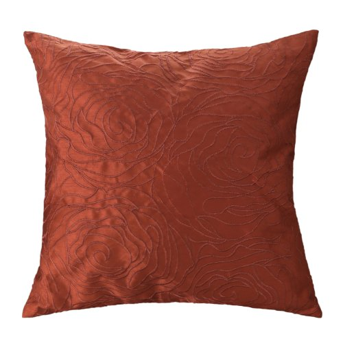 "Euphoria Contempo Decorative Throw Pillow Cushion Cover Pillowcase Shell Solid Faux Silk Roses Floral Embroidery Orange Color 18"" X 18"" front-701552"