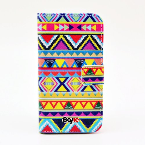 Bayke Brand / Lg Optimus G2 Smartphone Fashion Pu Leather Wallet Flip Protective Skin Case With Stand With Credit Card Slots & Holder Lg G2 At&T, Sprint, T-Mobile, International Only (Aztec Tribal Print)