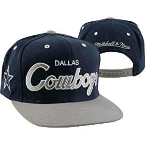 0a0ed16de5b Dallas Cowboys Mitchell   Ness Throwback Script 2 Tone Adjustable Snapback  Hat
