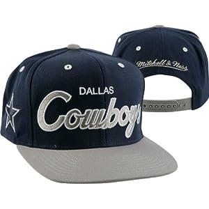 Dallas Cowboys Mitchell   Ness Throwback Script 2 Tone Adjustable Snapback  Hat adf3df8cc46