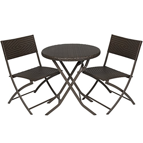 Best Choice Products 3pc Rattan Patio Bistro Set Hand Woven Furniture (Patio Furniture Small Space compare prices)