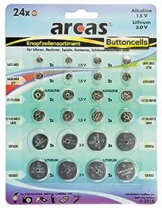 Arcas Pack de 24 piles bouton AG1 till CR2032