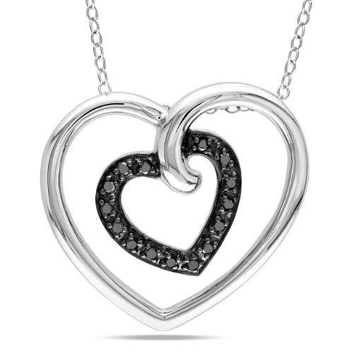 Sterling Silver Black Diamond Heart in Heart Pendant Necklace (.17 cttw), 18