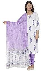Pinkshink White Block Printed Salwar Kameez Dress Material k75