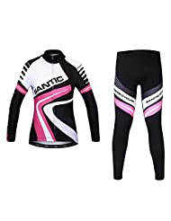 Santic Women's Fleece Thermal Long Sleeve Cycling Jersey And Padded Pants Sets