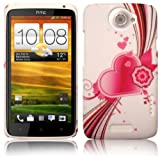 PINK / WHITE LOVE HEART HARD BACK CASE FOR HTC ONE X WITH SCREEN PROTECTOR