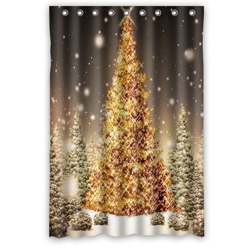 """Anhome Print Golden Merry Christmas Tree In Big Snow Confirm Beautiful Scenery Shower Curtain 48""""X 72"""" front-989581"""