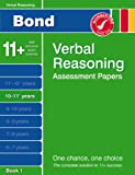 Cover of Bond Verbal Reasoning Assessment Papers 10-11+ years Book 1 by J M Bond 0748781188