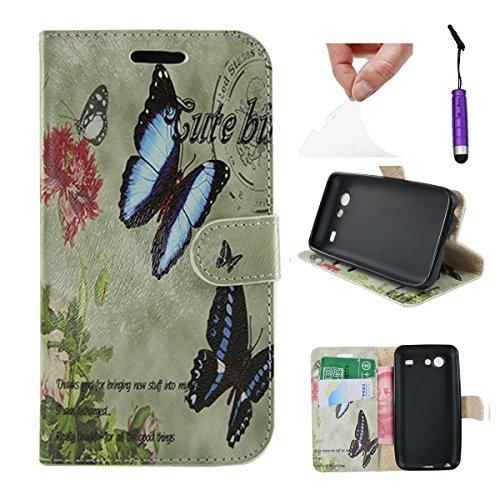 Casefashion® Elegante PU Pelle Stand Flip Custodia Portafoglio con Titolari di Carta Custodia Per Samsung Galaxy S Advance I9070 - Farfalla