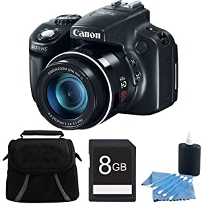 Canon PowerShot SX50 HS 12.1 MP Digital Camera with 50x Wide-Angle Optical Image Stabilized Zoom Deluxe Bundle With 8 GB Secure Digital High Capacity (SDHC) Memory Card, Digpro Compact Camera Deluxe Carrying Case