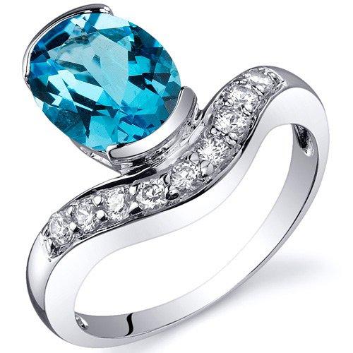 Revoni Channel Set 2.00 carats Swiss Blue Topaz Diamond CZ Ring in Sterling Silver