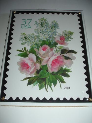 "2004 Licensed U.S. Postage Stamp Art - Crystal Art Satinwood GARDEN BOUQUET 8"" X 10"" Plaque - 1"