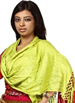 Exotic India Plain Lime Punch Scarf with Tassels - Plain Lime