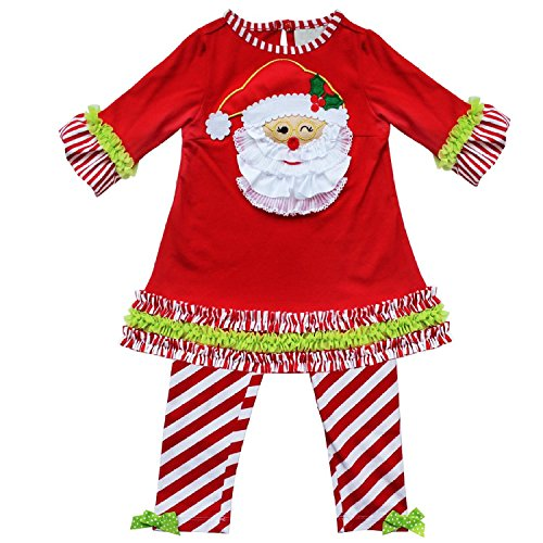 Baby Girls Gala Cuter Christmas Santa Tunic Top with Striped Leggings Outfit