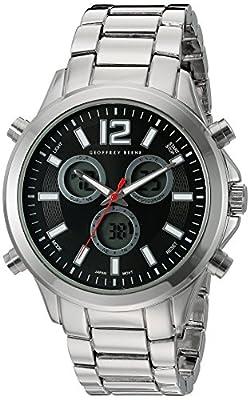 Geoffrey Beene Men's GB8050SLBK Analog Display Japanese Quartz Silver Watch