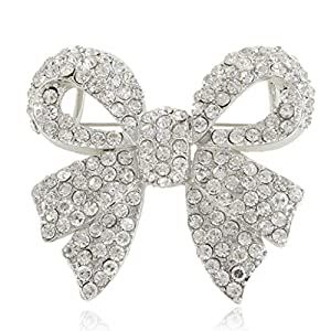 Ever Faith Silver-Tone Austrian Crystal Elegant Bowknot Brooch Pin Clear N03656-1
