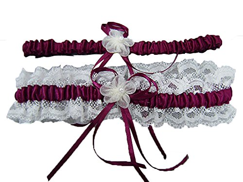 Aurora Bridal® Wedding Accessories Lace Garter for Bridal Burgundy