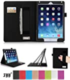 iPad Air 2 (iPad 6) Case Cover, FYY Premium Leather Case Smart Cover with Card Slots, Pocket, Elastic Hand Strap and Stylus Holder for Apple iPad Air 2 (iPad 6) Black (With Auto Wake/Sleep Feature)