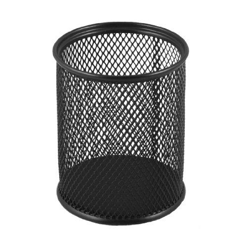 uxcell-8cm-dia-cylinder-shaped-mesh-style-black-metal-pen-ruler-pencil-holder