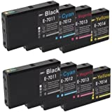 8 Compatible Ink Cartridges (T7021 - T7024) For Epson WorkForce Pro WP-4515DN WP-4525DNF WP-4535DWF WP-4545DTWF Printer