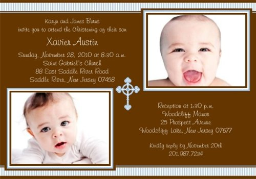 Sweet Stripes With Cross Photo Boy Christening Invitations - Set Of 20 front-1068850