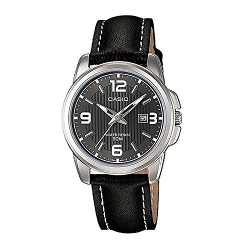 Casio LTP-1314L-8A - Reloj analógico de cuarzo para mujer, correa de cuero color negro