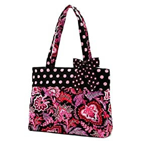 Belvah Quilted Floral Paisley Tote Handbag - Pink, Brown (14x10.5x5) with Detachable Polka Dot Accent Ribbon