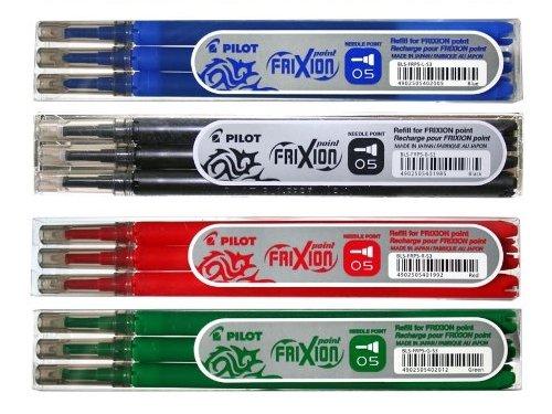 Pilot friXion-point roller pointe friXion-lot de 4 recharges-lots de 3 pièces dans les couleurs bleu, noir, rouge, vert