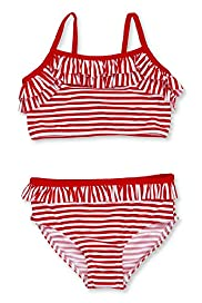 Square Neck Striped Frill Bikini