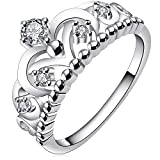 BOHG Jewelry Womens 925 Sterling Silver Plated Cubic Zirconia CZ Princess Crown Tiara Ring Wedding Band Size 7