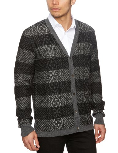 Pringle Jacquard Men's Jumper Hunter PaleGreyOxf Large