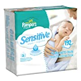 Pampers Sensitive 3X Wipes 192 Count (Pack of 4)