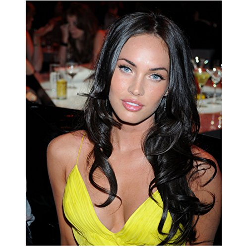 megan-fox-in-bright-yellow-top-long-curls-draping-on-shoulders-8-x-10-inch-photo