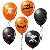 20Pcs Halloween 12 Inch Balloon Printed Haunted House Pumpkin Skull Decorations Garden Home Yard Party Props Gift for Kids
