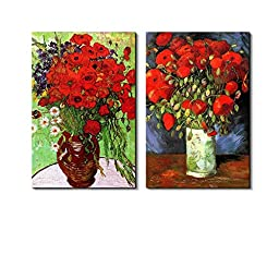 Famous Oil Painting Reproduction/ Replica Set of 2 - Vase with Red Poppies & Daisies by Van Gogh Canvas Prints Wall Art/Ready to Hang Wrapped Canvas - 16\