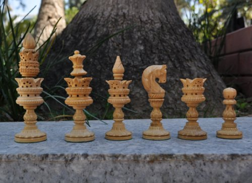 Rose wood Hand carved Lotus Turkish Chess set Pieces (Detailed Chess Set compare prices)