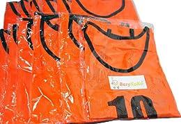 【BeryKoKo】 ビブス 1番~12番 12枚セット サッカーフットサルベスト オレンジ ネオンカラー(Berykoko-0023)