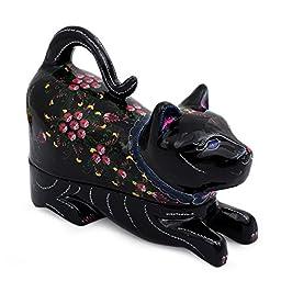 NOVICA Decorative Mango Wood Lacquered Box, Black, \'Kitty Cat Happiness\'