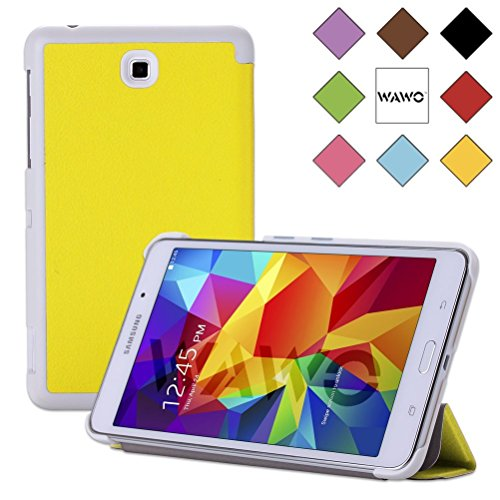 Wawo Creative Tri-Fold Cover Case For Samsung Galaxy Tab 4 7.0 Inch Tablet - Yellow front-992638