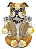 Bulldog Salt & Pepper Shaker Set Statuette with Decorative Spice Rack Display Stand Holder Puppy Dog Figurine in Puppy and Canine Kitchen Decor or Restaurant Bar Table Decorations As Housewarming
