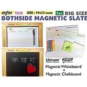 Ultimate Big Size Bothside Magnetic Board : Kids Writing Slate (All-in-One Magnetic Whiteboard & Magnetic Chalkboard...