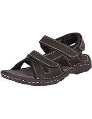 E Lyte Men's Leather Sandal ENS- 86017- Black Colour