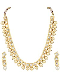 Aradhya Stylish Square Kundan And Shining Beige Pearl Necklace Set With Earrings For Women And Girls