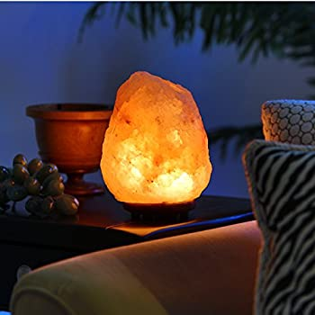 Natural Himalayan Hand Carved Salt Lamp with Indian Rosewood Base, Bulb And Dimmer Control, Medium Size, 8-11 lbs, 8-9.25