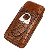 Crocodile Genuine Leather Cigar Tube Case with Cutter Set